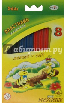 Пластилин восковой Пчелка (8 цветов) (280038)
