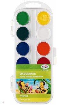 Краски акварель Пчелка (24 цвета) (212035)Краски акварельные более 20 цветов<br>Краски акварельные медовые полусухие без кисточки.<br>Предназначены для детского и художественного изобразительного творчества.<br>23 цвета. 24 кювета.<br>Помещены в пластмассовую упаковку с прозрачной крышкой.<br>Состав: вода питьевая, глицерин, декстрин, сахар, органические и неорганические тонкодисперсные пигменты. <br>Производство: Россия.<br>