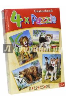 """Puzzle-8*12*15*20 """"Звери"""" (4 в 1) (В-04041)"""