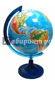 Глобус физический d=250мм (ZM250F)Глобусы<br>Физический глобус - глобус с нанесенной на него физической картой земной поверхности. <br>Корпус шара изготовлен из прочного пластика. Подставка и рамка изготовлены из непрозрачного пластика синего цвета и имеют разъемное соединение, как между собой, так и с шаром. Это и сувенир, и подробное учебное пособие. Глобус такого диаметра станет приятным и функциональным украшением стола для любого увлеченного человека (школьника, студента, руководителя), стремящегося к знаниям и готово завоевать весь мир.<br>Диаметр: 250 мм.<br>Масштаб: 1:50 000 000<br>Глобус настольный.<br>Производитель: Польша.<br>