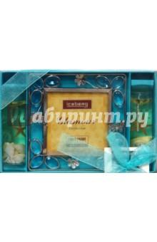 Набор: 05А0133 Рамка, 2 свечи, голубой