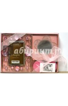 Набор: 05А2223 Рамка, 2 свечи, подсвечник, розовый