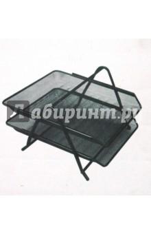 Лоток для бумаг горизонтальный 2-секционный серебристый (LD01-59-2)