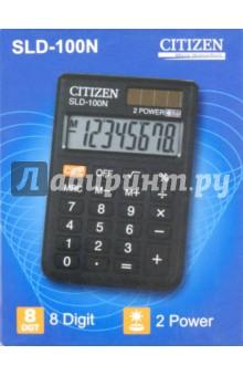 Калькулятор карманный Citizen черный, 8-разрядный (SLD-100N)Калькуляторы<br>Калькулятор карманный.<br>Питание: солнечный элемент, батарейка.<br>Разрядность дисплея:  8-разрядный<br>Специальные функции: память, вычисление квадратного корня, кнопка выключения.<br>Материал: пластмасса с элементами из металла.<br>Упаковка: картонная коробка.<br>Сделано в Китае.<br>