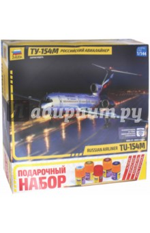 Российский авиалайнер Ту-154МПластиковые модели: Авиатехника (1:144)<br>Среднемагистральный пассажирский самолет Ту-154 М, разработанный в КБ им. А.Н. Туполева, выпускался серийно с 1984 года. Этот лайнер является одним из самых массовых российских пассажирских самолетов. Ту-154 способен перевозить до 158 пассажиров на расстояние до 3500км со скоростью до 950 км/ч. Ту-154 М является одним из немногих отечественных пассажирских самолетов, поставляемых на экспорт. В десятке ведущих авиакомпаний России и зарубежья ежедневно эксплуатируются сотни самолетов Ту-154М.<br>Сборная модель.<br>Масштаб - 1/144<br>В состав входит: набор деталей для сборки модели, клей, кисточка и четыре краски.<br>Не рекомендуется детям до 3 лет. Осторожно, мелкие детали!<br>Моделистам младше 10 лет рекомендуется помощь взрослых.<br>Срок службы не ограничен.<br>Сделано в России.<br>
