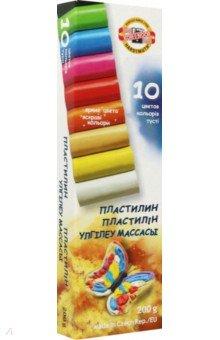 Пластилин 10 цветов. 200 грамм (131710)Пластилин 4—10 цветов<br>Набор пластилина без стеков.<br>10 цветов.<br>Масса нетто: 200 г.<br>Предназначен для лепки и моделирования в детском творчестве.<br>Пластилин не прилипает к рукам, имеет яркие, сочные цвета, которые легко смешиваются друг с другом.<br>Помещен в картонную коробку.<br>Безопасен при использовании по назначению.<br>Производство: Чехия.<br>