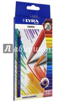Карандаши акварельные Osiris (12 цветов) (2531120)Цветные карандаши 12 цветов (9—14)<br>Цветные акварельные карандаши.<br>Карандаши трехгранные.<br>Ширина стержня: 3 мм.<br>Количество цветов: 12.<br>В наборе есть кисточка.<br>Упаковка: картонная коробка с блистером.<br>Для детей от 3-х лет, или ранее под присмотром родителей. <br>Сделано в Китае.<br>