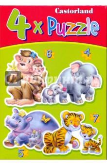 """Puzzle-4*5*6*7 """"Дикие животные"""" (4 в 1) (В-04126)"""