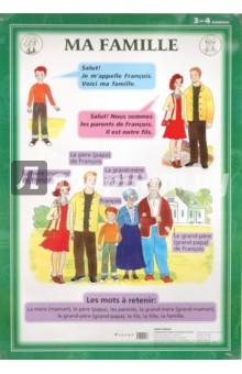 Французский язык. Моя семья. 3-4 классы (1). Стационарное учебное наглядное пособие