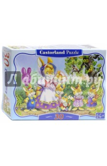 Puzzle-30 MIDI Семья кроликов (В-03112)Пазлы (15-50 элементов)<br>Пазл-мозаика.<br>30 деталей.<br>Картинка: Семья Кроликов.<br>Размер картинки: 32х23 см.<br>Материал: картон.<br>Упаковка6 картонная коробка.<br>Для детей от 4 лет.<br>Производитель: Польша.<br>