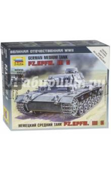 Немецкий средний танк Pz.Kp.fw.III G (6119)Бронетехника и военные автомобили (1:100)<br>Немецкий средний танк Pz.Kpfw. III G М.<br>Масштаб: 1/100.<br>Набор для сборки одной модели танка.<br>Размер готовой модели 4,2 см. <br>5 деталей.<br>Сделано в России.<br>Упаковка: картонная коробка.<br>