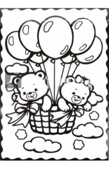 Бархатная раскраска Мишки в облаках (08467)