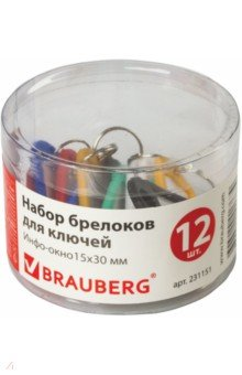 Набор брелоков для ключей (231151)Другие виды мелко-офисной канцелярии<br>Набор разноцветных брелоков позволит идентифицировать ключи от разных кабинетов.<br>Изготовлены из эластичного пластика.<br>В наборе - 12 шт.<br>Размер информационного окна - 15х30 мм. <br>Поставляется в пластиковой коробке.<br>Цвет - красный, черный, зеленый, синий, желтый и белый.<br>