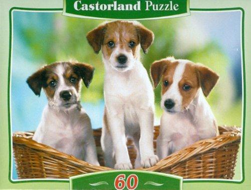 Иллюстрация 1 из 2 для Puzzle-60. MIDI Три щенка в корзине (В-06458) | Лабиринт - игрушки. Источник: Лабиринт