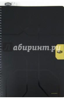 Тетрадь Stila Accent 96 листов, А4, клетка, черно-желтая (110440)Тетради большеформатные<br>Офисная тетрадь в клетку.<br>Уникальный дизайн обложки. Наличие пластиковой линейки-закладки. <br>96 листов.  <br>Тип крепления: двойная евроспираль. <br>Формат листов: А4. <br>Цвет бумаги: белый. <br>Обложки: матовый пластик с частичной лакировкой.<br>Срок годности не ограничен.<br>Особых условий и правил хранения не требует.<br>Производство: Россия.<br>