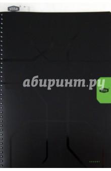 """Тетрадь """"Stila Accent"""" 96 листов, А4, клетка, черно-зеленая (110442) Икспрессо"""