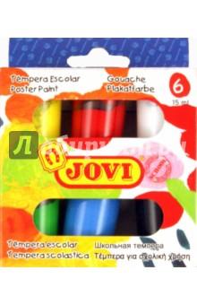 Гуашь (темпера) 6 цветов (520)Гуашь 6 цветов (3—8)<br>В наборе 6 баночек с краской по 15 мл.<br>Краски на водной основе с высокой покрывающей способностью. Готовы к использованию без разбавления водой. Могут смешиваться для получения новых оттенков. Для рисования по бумаге, дереву, пластику и поделок из пасты для моделирования после отвердевания. <br>Для детей от 3 лет.<br>Товар соответствует СанПин 2.4.7.007-93<br>Страна-производитель Испания.<br>