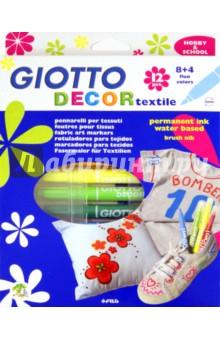 Фломастеры для декорирования  текстиля: 12 цветов (494900)Набор фломастеров для декорирования текстиля<br>12 цветов, для нанесения стойкого изображения на ткань, яркие, стойкие цвета.<br>Упаковка: картонная коробка с подвесом.<br>Сделано в Италии<br>