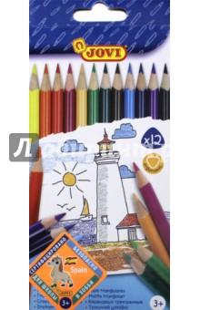 Карандаши цветные треугольные (12 цветов) (733/12)Цветные карандаши 12 цветов (9—14)<br>Цветные треугольные деревянные карандаши толщиной 7,5 мм, длиной 175 мм.<br>Удобная треугольная форма корпуса эргономична, снижает нагрузку на кисти рук. Грифель приклеен к деревянному корпусу, что предохраняет его от поломок при падении. Рисуют на бумаге, ватмане, картоне. Легко отстирываются с большинства тканей. Гипоаллергенны, не содержат глютен.<br>В наборе 12 заточенных цветных карандашей.<br>Состав: пигменты, воск, загустители, наполнители, пластификатор, целлюлоза.<br>Для детей старше 3-х лет.<br>Упаковка с европодвесом.<br>Производитель Китай.<br>
