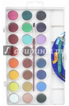 Краски акварельные 24 цвета, с кистью (800/24)Краски акварельные более 20 цветов<br>Краски акварельные, 24 цвета.<br>В комплекте кисть для рисования.<br>Краска в сухих таблетках с высоким содержанием цветного пигмента, на бумаге образует яркие оттенки.<br>Требует минимального количества воды.<br>Состав акварели: смесь пигментов, наполнителей, загустителей.<br>Состав кисти: натуральный волос пони, корпус - полиэтилен, металл.<br>Для детей старше 3 лет. <br>Товар соответствует СанПин 2.4.7.007-93<br>Упаковка с европодвесом.<br>Производство Испания.<br>