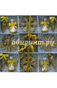 Новогоднее подвесное украшение из соломки (звезды, снежинки) 20 штук (22233)