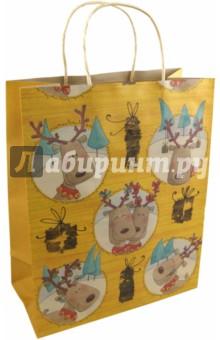 Пакет бумажный новогодний 26х33х13 см (17741)