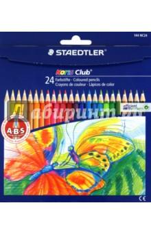 Карандаши цветные Noris Club, 24 цвета (144 NC24)Цветные карандаши более 20 цветов<br>Цветные карандаши в форме шестигранника, 24 цвета.<br>С A-B-S - системой. Белое защитное кольцо усиливает грифель и повышает его ударопрочность. Грифель не ломается и не крошится при заточке. Корпус из сертифицированной особопрочной древесины. Яркие насыщенные цвета.<br>Срок годности не ограничен.<br>Упаковка: картонная коробка с подвесом.<br>Производство: STAEDTLER, Германия.<br>