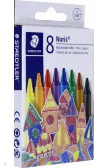 Мелки восковые Noris Club (8 цветов, круглые) (220NC804)Мелки восковые<br>Мелки восковые.<br>Яркие цвета.<br>8 мелков, 8 цветов.<br>Диаметр: 8 мм.<br>В бумажной манжетке.<br>Безопасно для детей.<br>Сделано в Китае.<br>
