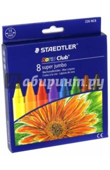 Мелки восковые  Noris Club 226 Super Jumbo (8 цветов) (226 NC8)Мелки восковые<br>Мелки восковые.<br>Круглые.<br>Яркие цвета.<br>8 мелков, 8 цветов.<br>Диаметр: 14 мм.<br>В бумажной манжетке.<br>