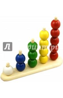 Пирамидка Абака с шариками (Д-296)Конструкторы из дерева<br>Развитие мелкой моторике, координация движений, знакомство с цветами.<br>Материал: дерево окрашенное.<br>Для детей от 3-х лет.<br>Сделано в России.<br>