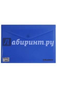 Папка-конверт с кнопкой непрозрачная А4 синяя (221362)
