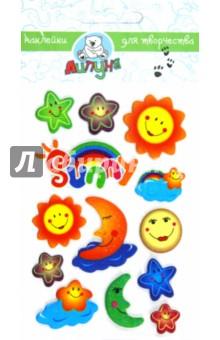 "Наклейки детские ""Солнце и луна"" (ZF009)"