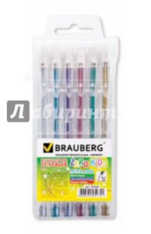 """Набор гелевых ручек """"Zero Kids"""" 0,8мм., 6 шт., 6 цветов (141029) Brauberg"""
