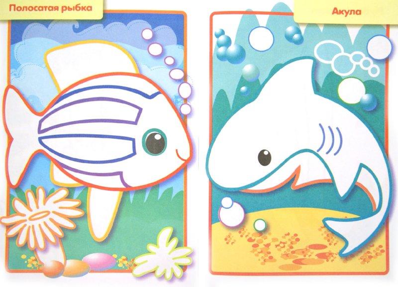 Раскраски малышам с цветным контуром