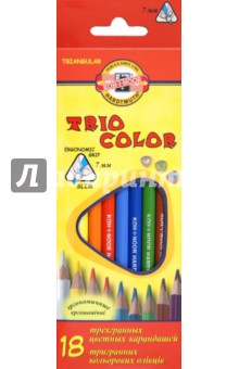 Карандаши цветные, 18 цветов. Трехгранные (3133)Цветные карандаши 18 цветов (15—20)<br>Цветные карандаши заточенные, трехгранные.<br>Количество штук в упаковке: 18.<br>Количество цветов: 18.<br>Срок годности: не ограничен.<br>Упаковка: картонная коробка с блистером.<br>Производство: Чешская республика.<br>