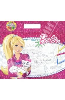 Барби. Большая раскраска - цветная подсказка. С подложкой