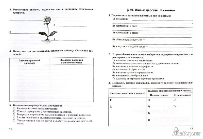 Гдз по биологии 6 класс рабочая тетрадь исаев фгос