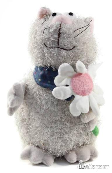 Иллюстрация 1 из 2 для Мягкая игрушка Кот серый с цветком 23 см (К82010А ) | Лабиринт - игрушки. Источник: Лабиринт
