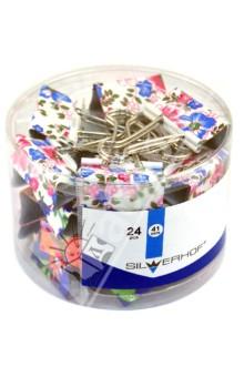 Зажимы для бумаг 41 мм, с рисунком, 24 штуки (511019)