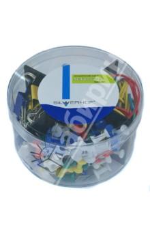 Набор канцелярских принадлежностей (172036)Гвоздики<br>Набор канцелярских принадлежностей.<br>В наборе:<br>- банковская резинка (40 шт.)<br>- гвоздики канцелярские (80 шт.)<br>- зажимы для бумаг 19 мм (15 шт.)<br>- скрепки цветные 28 мм (100 шт.)<br>Упаковка: пластиковая прозрачная коробка.<br>Сделано в Китае.<br>