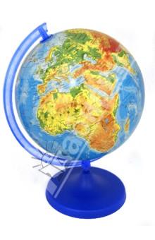 Глобус физический, d=220 мм (ZM220Fk)Глобусы<br>Глобус с физической картой мира.<br>Корпус шара изготовлен из прочного пластика. Подставка выполнена из непрозрачного пластика синего цвета, рамка - из прозрачного светло-голубого пластика и имеют разъемное соединение, как между собой, так и с шаром. Это и сувенир, и подробное учебное пособие. Глобус такого диаметра станет приятным и функциональным украшением стола для любого увлеченного человека (школьника, студента, руководителя), стремящегося к знаниям и готового завоевать весь мир. <br>Диаметр: 220 мм.<br>Глобус настольный.<br>Производитель: Польша.<br>