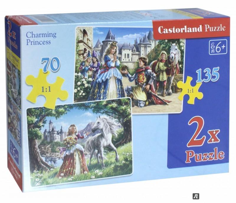 """Иллюстрация 1 из 19 для Пазлы, 2 в 1 """"Принцессы"""". 135 элементов и 70 элементов (В-021017)   Лабиринт - игрушки. Источник: Лабиринт"""