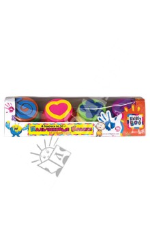 Пальчиковые краски со штампиками, 4 цвета (44528) KriBly Boo