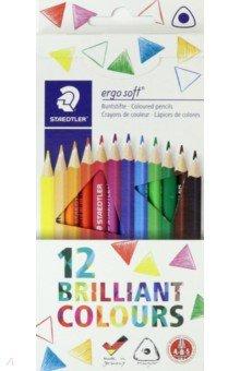 Карандаши цветные Ergosoft трехгранные, 12 цветов (157C1210)Цветные карандаши 12 цветов (9—14)<br>Тонкий трехгранный карандаш для всех возрастных групп, 12 цветов.<br>- Для рисования без усталости и усилий;<br>- С уникальной  мягкой поверхностью, не допускающей скольжения;<br>- Система защиты от поломки ABS (Anti-break-system) увеличивает устойчивость и сокращает ломкость грифеля;<br>- Мягкие, устойчивые к излому грифели;<br>- Карандаши покрыты лаком на водной основе;<br>- Легко затачивать при любом качестве точилки;<br>- Грифель диаметром 3 мм.<br>Упаковка: картонная коробка с подвесом.<br>Сделано в Германии.<br>