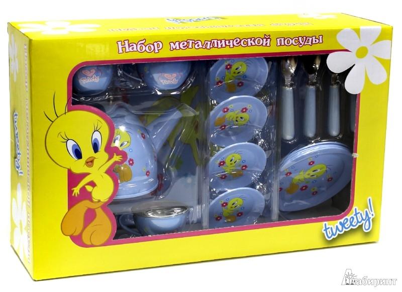"""Иллюстрация 1 из 3 для Набор металлической кукольной посуды """"TWEETY"""" 11 предметов (44530)   Лабиринт - игрушки. Источник: Лабиринт"""