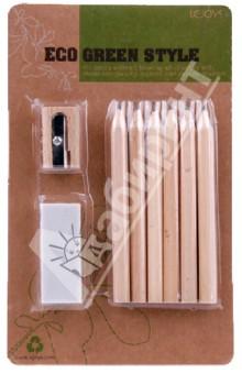 Мини-набор канцелярский в блистере. Цветные карандаши, точилка, ластик (070195)Цветные карандаши 6 цветов (4—8)<br>Мини-набор канцелярский в блистере. <br>Цветные карандаши 6-ти цветов (желтый, коричневый, синий, черный, красный, зеленый), точилка, ластик.<br>Корпусы карандашей и точилки изготовлены из дерева.<br>Сделано в Китае.<br>