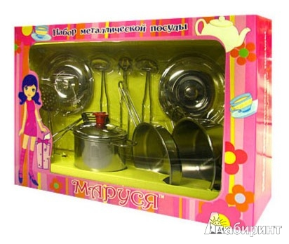 """Иллюстрация 1 из 3 для Набор металлической посуды """"ОБЪЕДЕНЬЕ"""" 11 предметов (43483)   Лабиринт - игрушки. Источник: Лабиринт"""