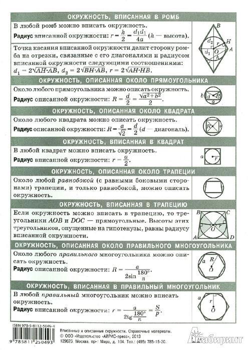 Иллюстрация 1 из 15 для Математика. Вписанные и описанные окружности. Справочные материалы | Лабиринт - книги. Источник: Лабиринт