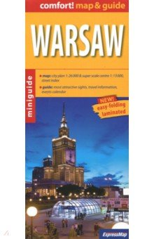 Warsaw. 1:26 000Атласы и карты мира<br>Warsaw / Warsaw map &amp; guide Size: 9.6 x 22 cm (folded) The unique combination of maps and guide. All necessary information for a short trip. Practically, concisely and to the point. What to see and how to get there. Handy format, indestructible formula (to be published in full laminated). For the busy and appreciate the simplicity and functionality.<br>- convenient map with rich content, conveniently for the tourist scale ( 1:26000, 1:13000 center), plus: street index<br>- property descriptions and addresses of dozens of the most interesting places to visit (all numbered consecutively, and the numbers marked on the map)<br>- useful practical information: public transport, weather, phone numbers<br>- advice on where to eat and drink, where to go shopping<br>- calendar of interesting events<br>