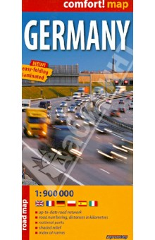 Germany. Road Map. 1:900 000Атласы и карты мира<br>This easy-folding laminated comfort! map is durable and water resistant. Map includes up-to-date road network, places of interest, shaded relief and an index of places names. Double sided map.<br>